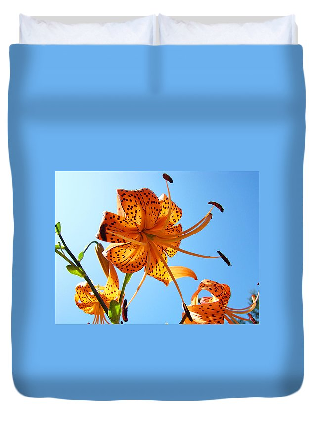 Lilies Duvet Cover featuring the photograph Blue Sky Tiger Lily Floral Garden Art Prints Baslee Troutman by Baslee Troutman