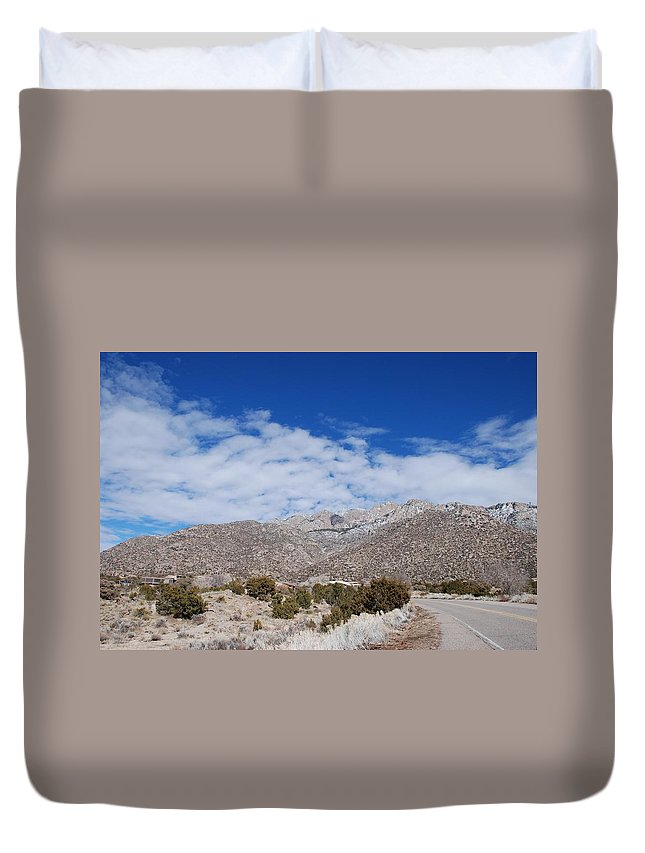 Sandia Mountains Duvet Cover featuring the photograph Blue Skys Over The Sandias by Rob Hans