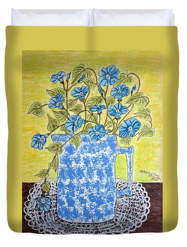 Blue Duvet Cover featuring the painting Blue Spongeware Pitcher Morning Glories by Kathy Marrs Chandler