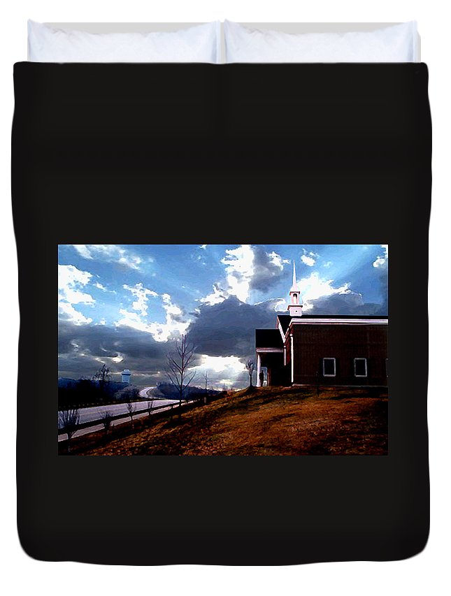 Landscape Duvet Cover featuring the photograph Blue Springs Landscape by Steve Karol