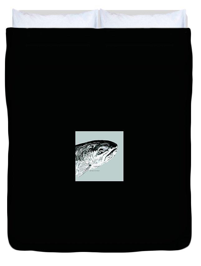 Steelhead Duvet Cover featuring the digital art Blue Steel by Sara Stevenson