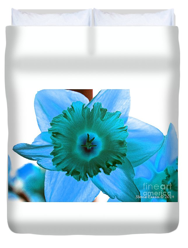 Flower Edit Color Blue Modern Edge Daffodil Bloom Nature Duvet Cover featuring the photograph Blue. by Stevie Ellis