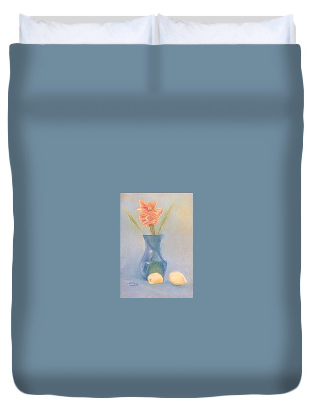 Pastel Duvet Cover featuring the pastel Blue Still Life by Michael Martone
