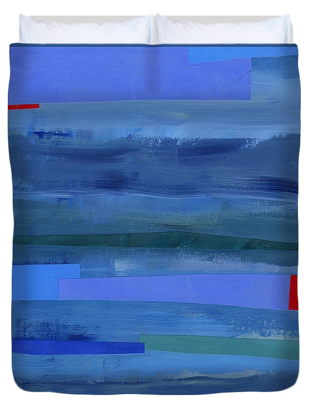 Abstract Art Duvet Cover featuring the painting Blue Stripes 1 by Jane Davies