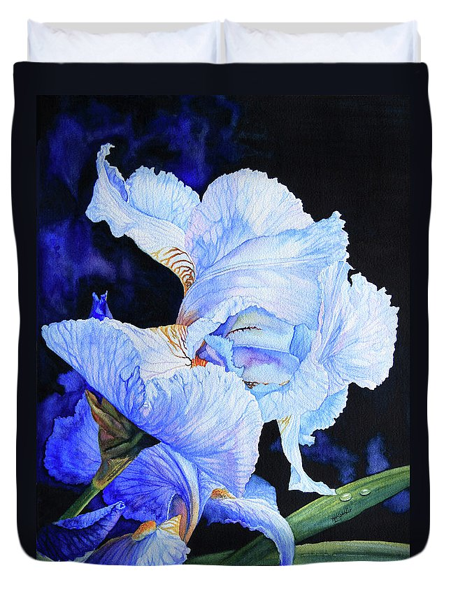 Floral Painting Duvet Cover featuring the painting Blue Summer Iris by Hanne Lore Koehler