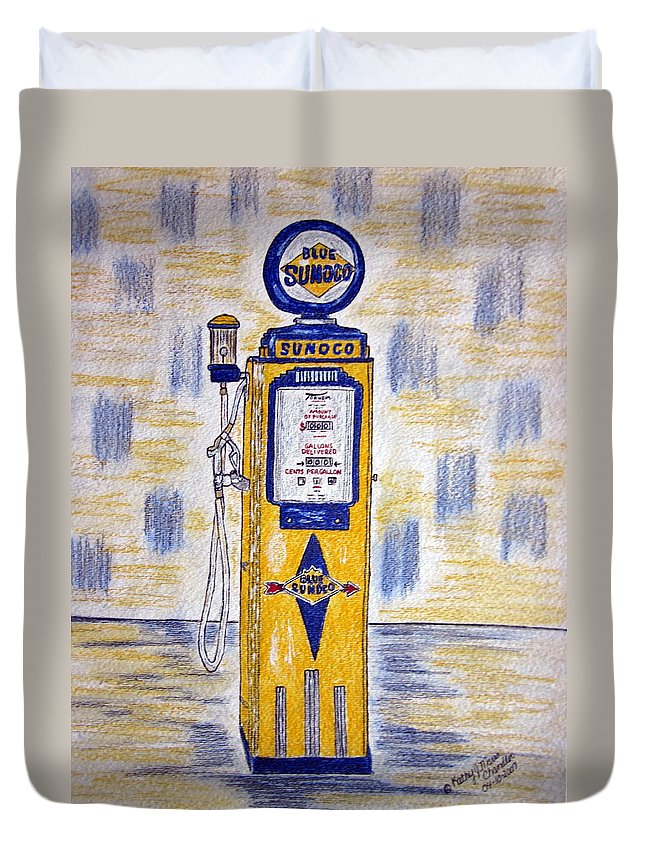 Blue Sunoco Duvet Cover featuring the painting Blue Sunoco Gas Pump by Kathy Marrs Chandler