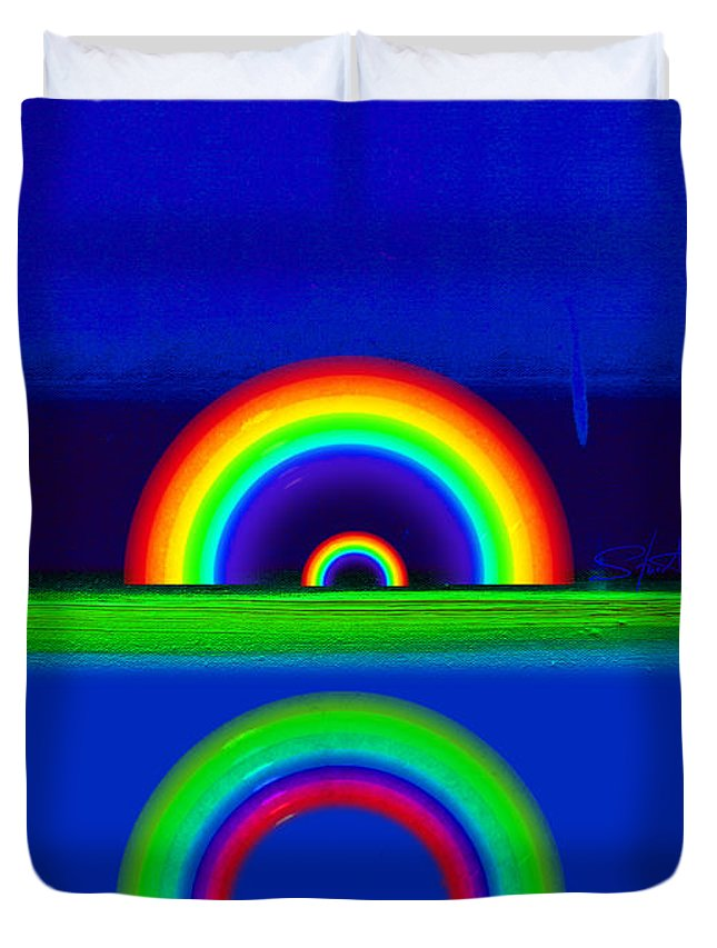 Rainbow Duvet Cover featuring the painting Blue Sunset by Charles Stuart