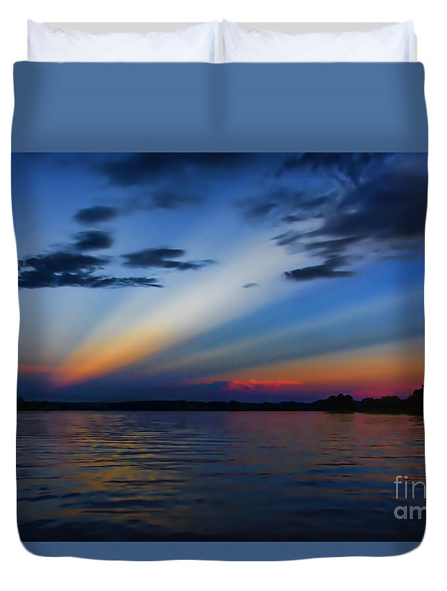 Blue Duvet Cover featuring the photograph Blue Sunset by Ken Johnson