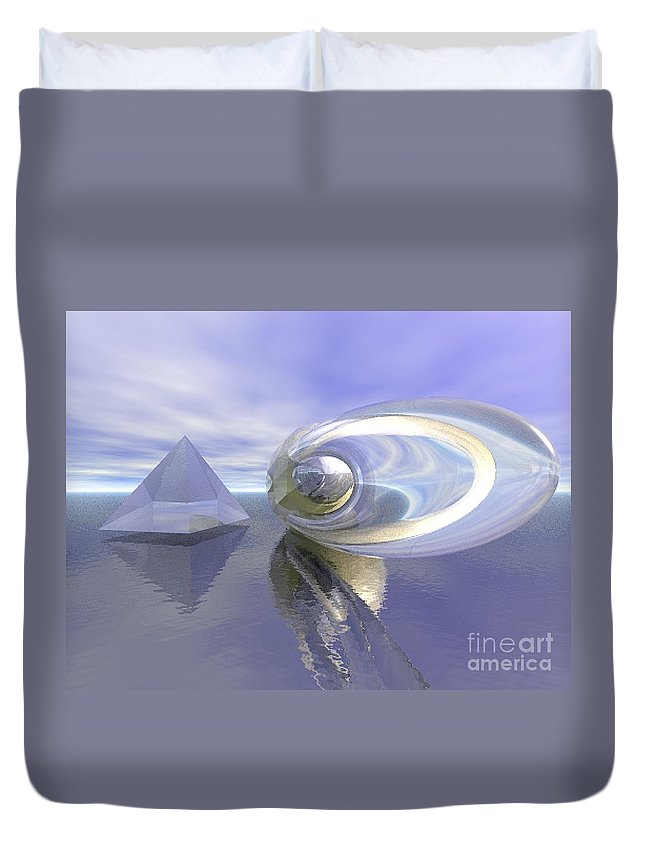 Surreal Duvet Cover featuring the digital art Blue Surreal by Oscar Basurto Carbonell