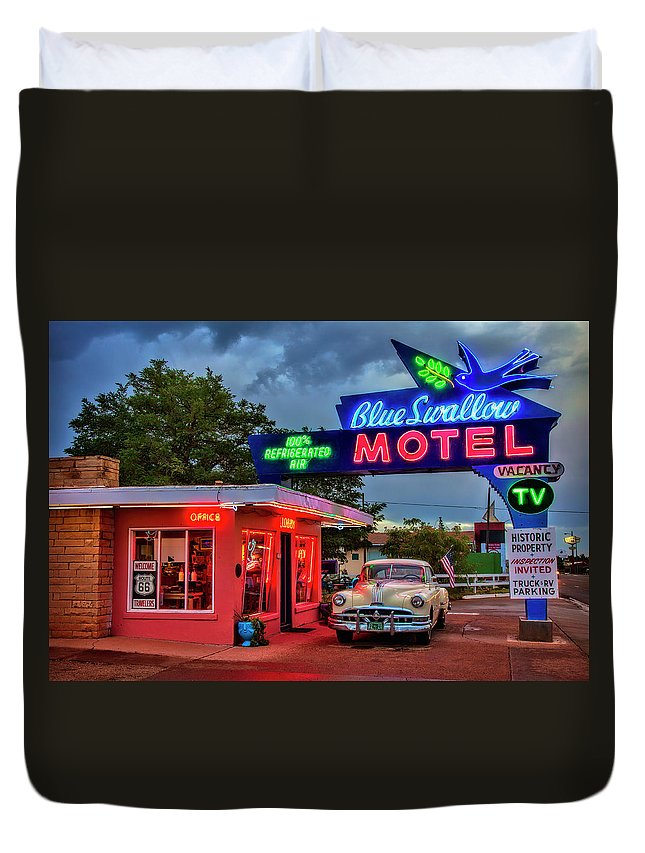 Duvet Cover featuring the photograph Blue Swallow Motel by Diana Powell