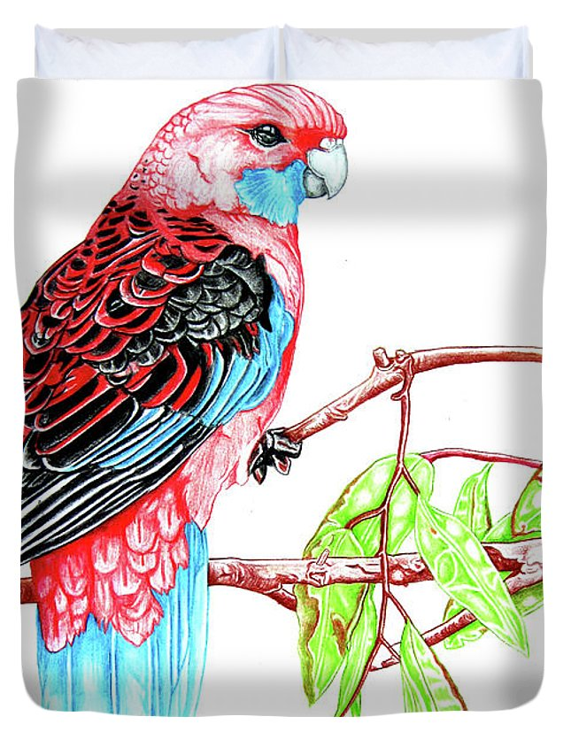 Parrot Duvet Cover featuring the mixed media Blue Tail Parrot - Green Day by Dwayne Hamilton