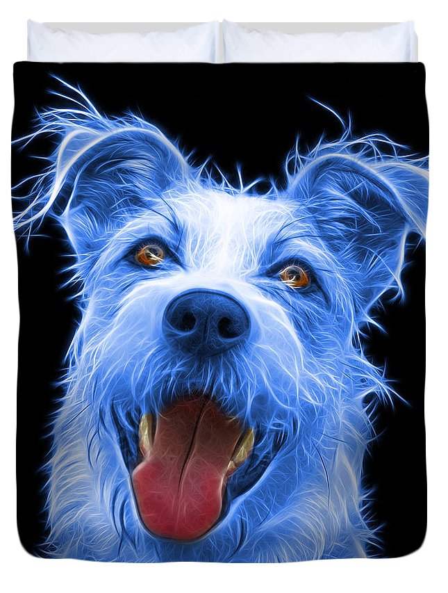 Terrier Duvet Cover featuring the painting Blue Terrier Mix 2989 - Bb by James Ahn
