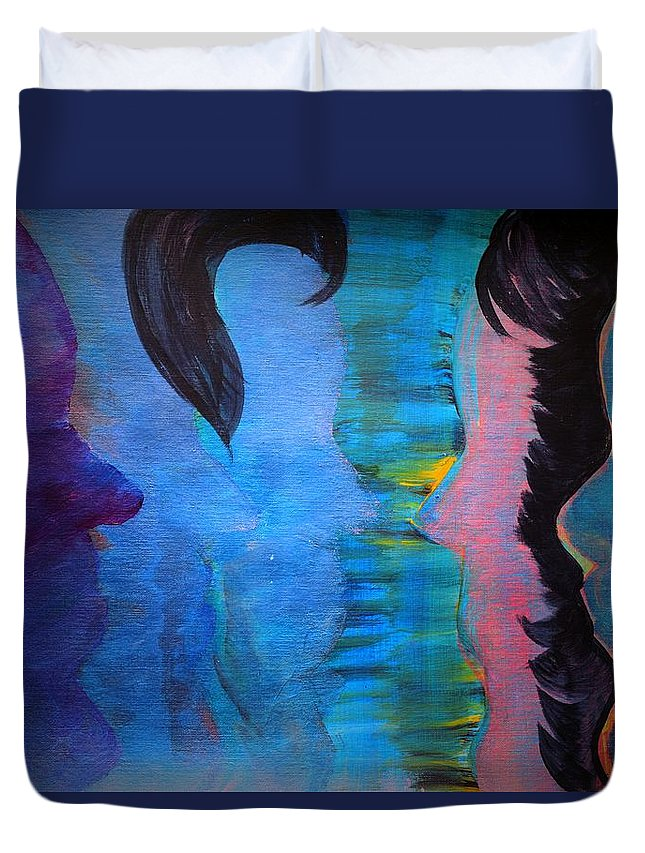 Face Duvet Cover featuring the painting Blue Thoughts by Valerie Dauce