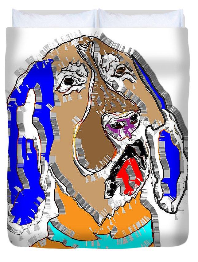 Pop Art Duvet Cover featuring the digital art Blue Tic Hound Colorful by Dalon Ryan