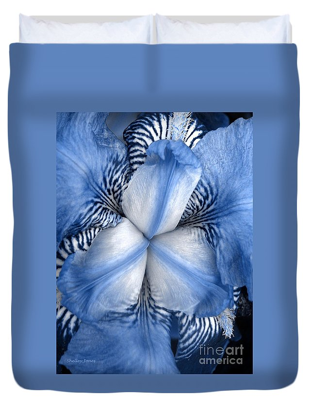 Jphotography Duvet Cover featuring the photograph Blue Tiger Iris by Shelley Jones