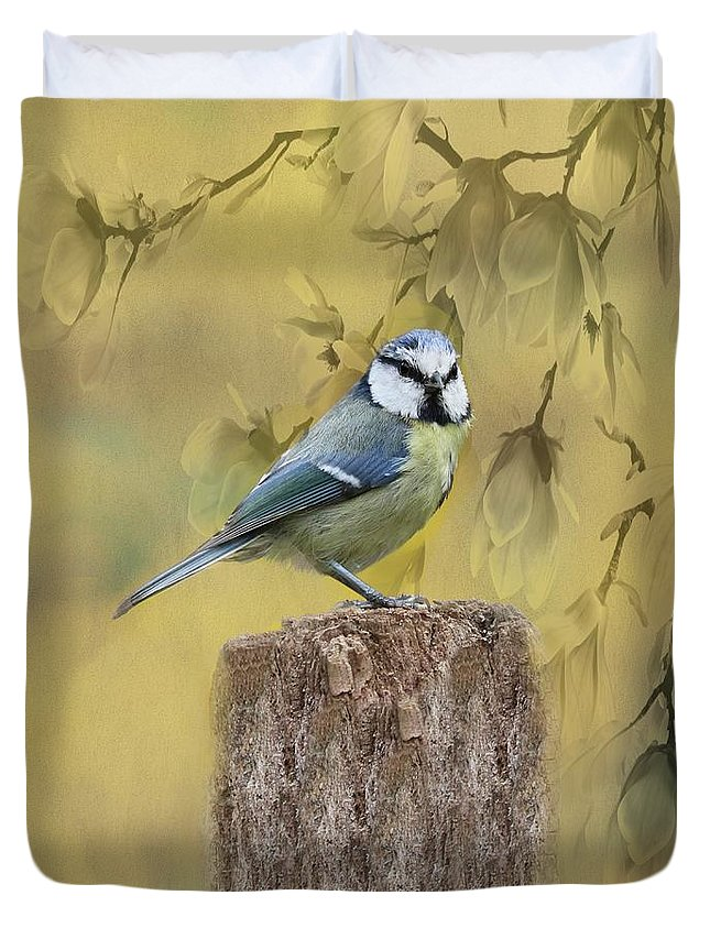 Blue Tit Duvet Cover featuring the photograph Blue Tit Bird II by Movie Poster Prints