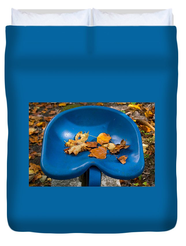 Cumberland Duvet Cover featuring the photograph Blue Tractor Seat by Douglas Barnett