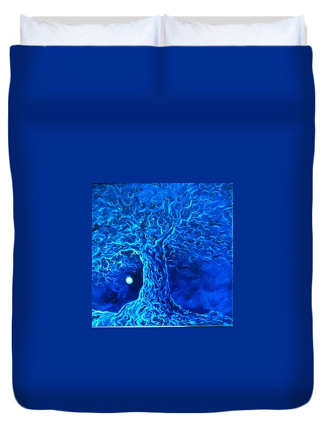 Blue Duvet Cover featuring the painting Blue Tree by Karen Doyle