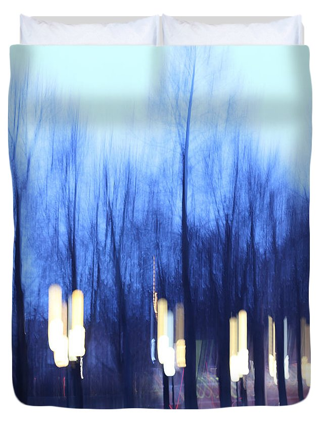 Night Duvet Cover featuring the photograph Blue Trees by Radka Zimova King