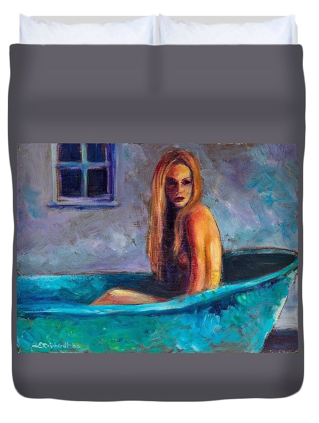 Nude Duvet Cover featuring the painting Blue Tub Study by Jason Reinhardt