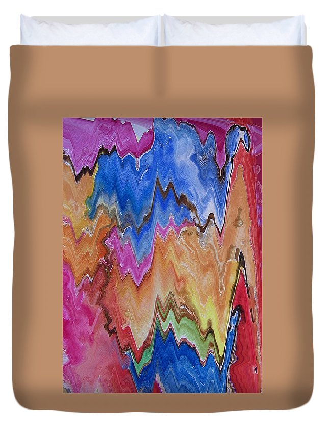 Abstract Duvet Cover featuring the digital art Blue Turkeys And Lightning by Lenore Senior