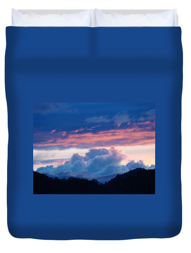 Sunset Duvet Cover featuring the photograph Blue Twilight Clouds Art Prints Mountain Pink Sunset Baslee Troutman by Baslee Troutman