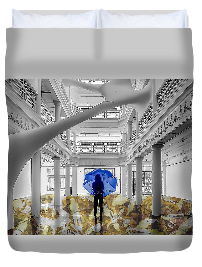 Blue Duvet Cover featuring the photograph Blue Umbrella by Coco Moni