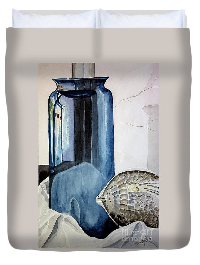Vase Duvet Cover featuring the painting Blue Vase by Kandyce Waltensperger