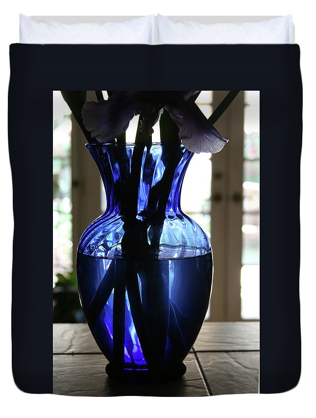 Vase Duvet Cover featuring the photograph Blue Vase by Marna Edwards Flavell