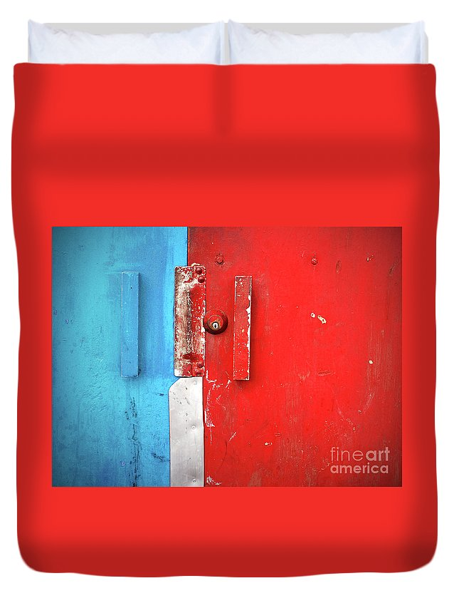 Urban Duvet Cover featuring the photograph Blue Wall Red Door by Tara Turner