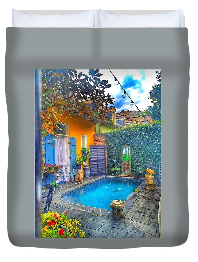 Duvet Cover featuring the photograph Blue Water Courtyard by Mark Pritchard