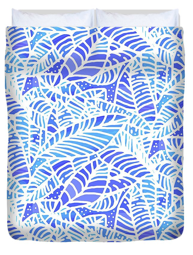 Abstract Duvet Cover featuring the digital art Blue Water Leaves by Karen Dyson