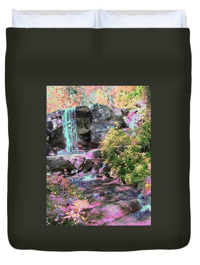 Waterfall Duvet Cover featuring the photograph Blue Waterfall by Anne Cameron Cutri