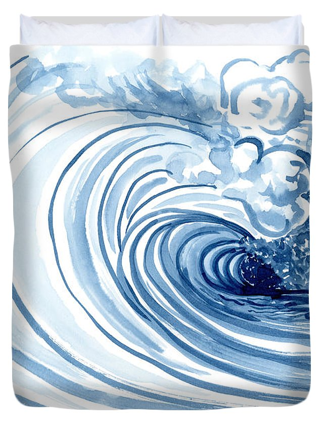 Modern Duvet Cover featuring the painting Blue Wave Modern Loose Curling Wave by Audrey Jeanne Roberts