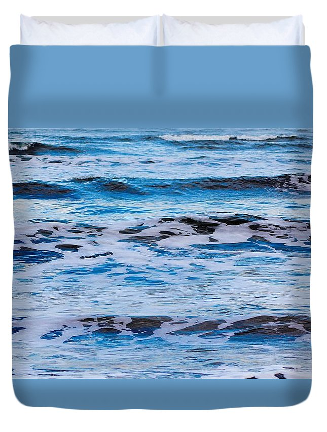 Waves Duvet Cover featuring the photograph Blue Waves by Modern Art