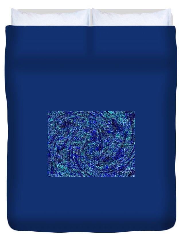 Dark Duvet Cover featuring the digital art Blue Whirl Wind In The Sky by Debra Lynch