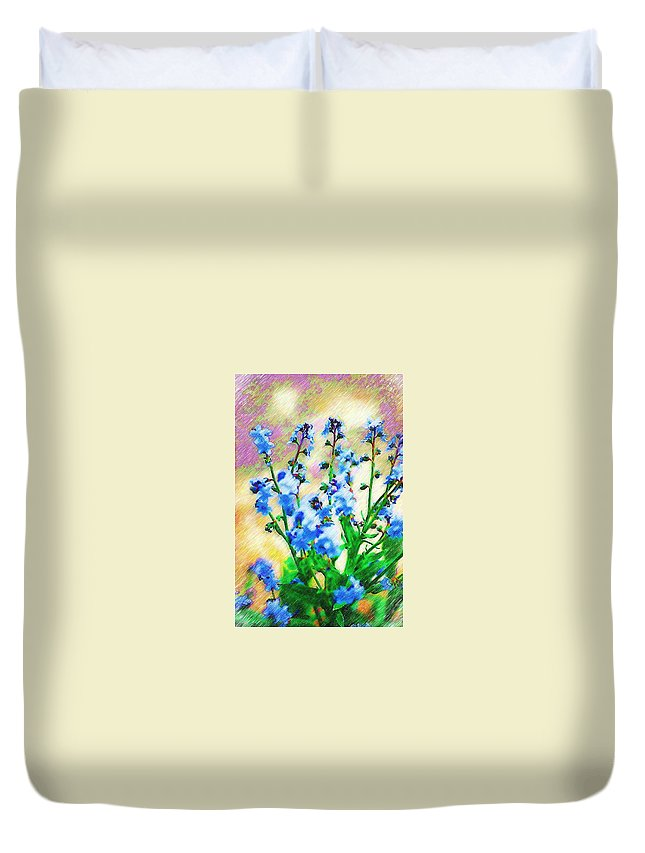 Blue Duvet Cover featuring the photograph Blue Wildflowers by Donna Bentley