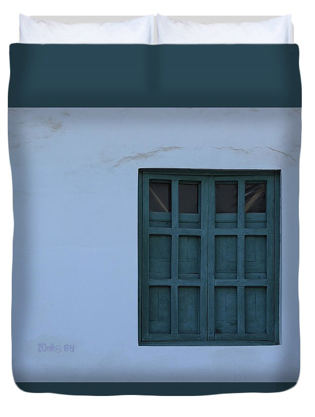 Window Duvet Cover featuring the photograph Blue Window In A Wall by Robert Hamm