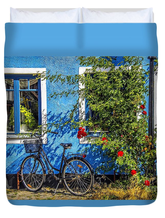 Ystad Duvet Cover featuring the photograph Blue Window With Bike by Roberta Bragan