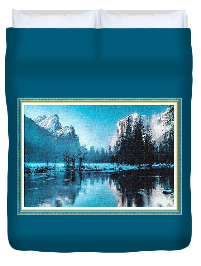 Rural Duvet Cover featuring the painting Blue Winter Fantasy. L B With Decorative Ornate Printed Frame. by Gert J Rheeders