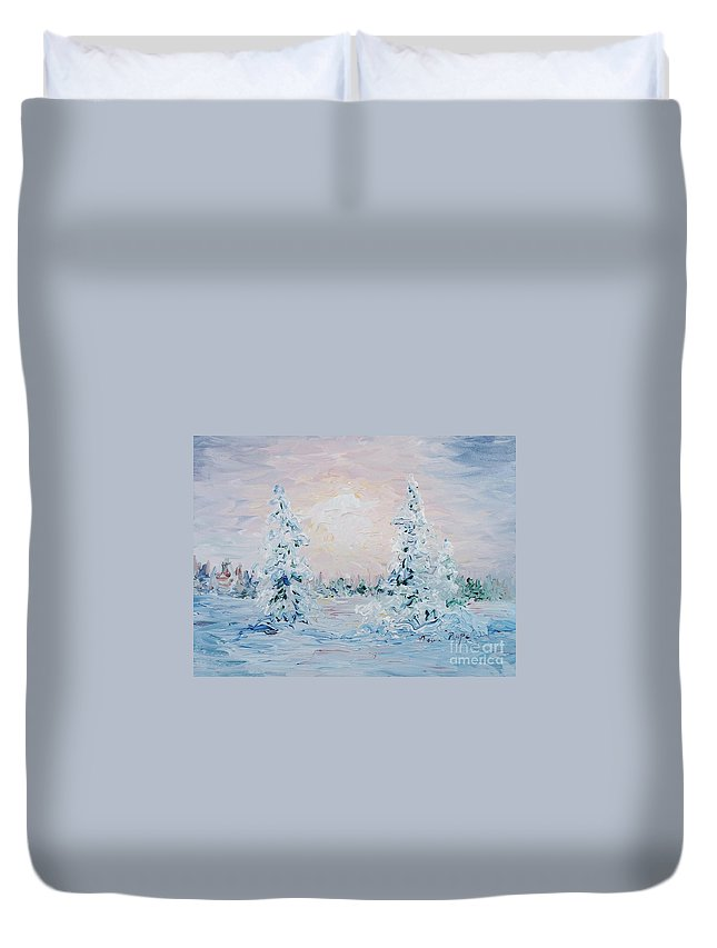 Landscape Duvet Cover featuring the painting Blue Winter by Nadine Rippelmeyer