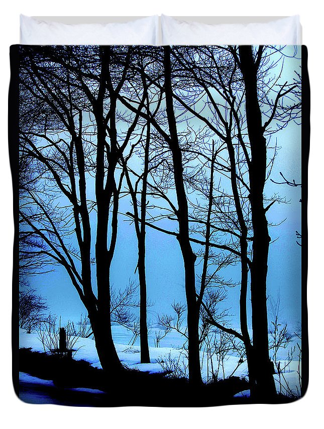 Woods Duvet Cover featuring the photograph Blue Woods by Karol Livote