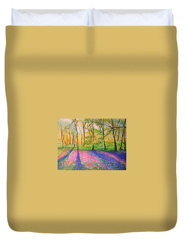 Landscape Duvet Cover featuring the painting Bluebell Wood by Lizzy Forrester