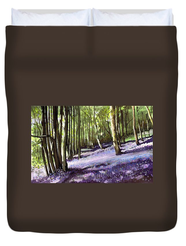 Woodland Duvet Cover featuring the painting Bluebells At Grimescar Wood by Paul Dene Marlor