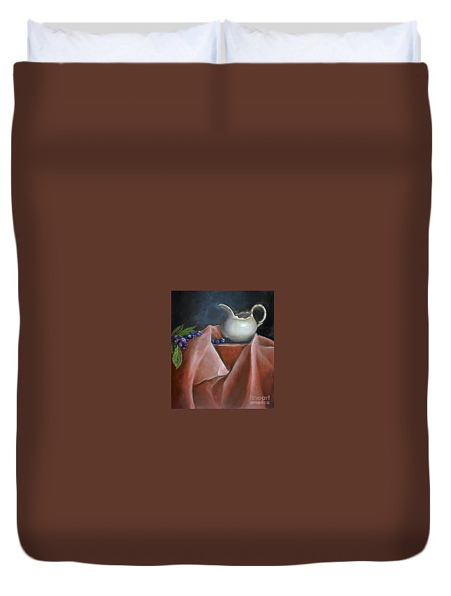 Blueberries Duvet Cover featuring the painting Blueberries And Cream by Enzie Shahmiri