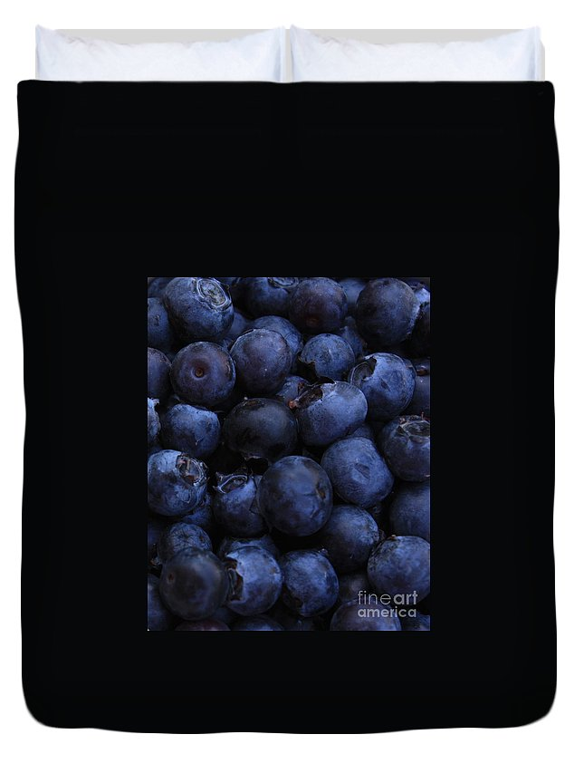 Blueberries Duvet Cover featuring the photograph Blueberries Close-up - Vertical by Carol Groenen