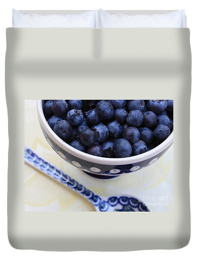 Food Duvet Cover featuring the photograph Blueberries In Polish Pottery Bowl by Carol Groenen