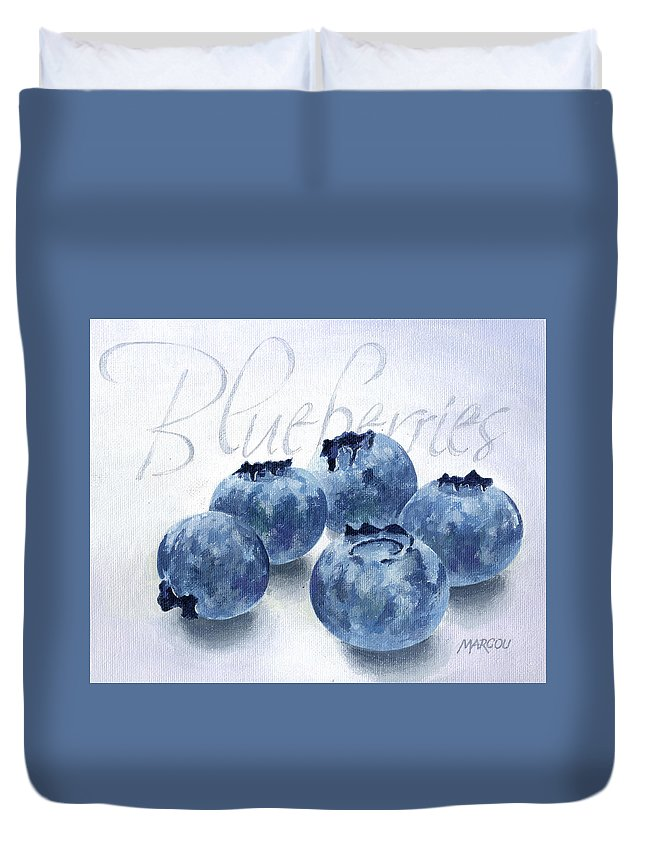 Fruit And Vegetables Duvet Cover featuring the painting Blueberries by Joseph Marcou