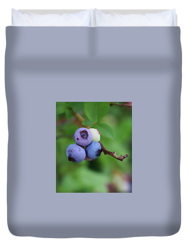Blueberry Duvet Cover featuring the photograph Blueberries On The Vine 3 by Cathy Lindsey