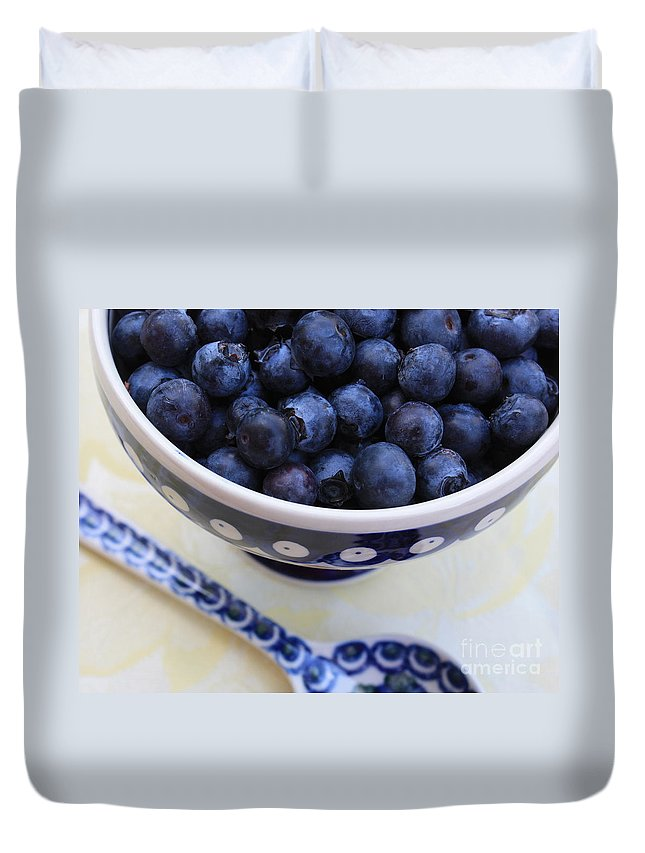 Food Duvet Cover featuring the photograph Blueberries With Spoon by Carol Groenen